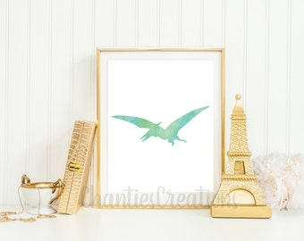Pterodactyl Printable Wall Art. Dinosaur Printable Wall Art. Little Boys Room Wall Art Printable.