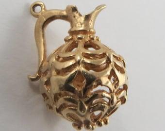 Reticulated Jug 10K Gold Vintage Charm For Bracelet
