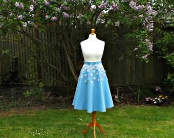 50's Style Circle Skirt, High Waisted Skirt, Vintage Style Skirt, Blue Skirt, Women's Skirt, Floral Skirt, Embroidered Skirt, Full Skirt