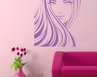 Beautiful Retro Girl in Purple - Vintage Feel Wall Decal