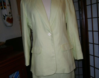 Women's Skirt and Jacket - Bill Blass - Lime Green