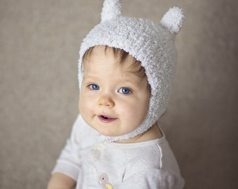 Soft White Hat, Inspired by Finn, Funny, Inspired by Adventure Time, Cosplay, Photo Prop, Soft Yarn Knitted Hat, Bunny Ears Hat