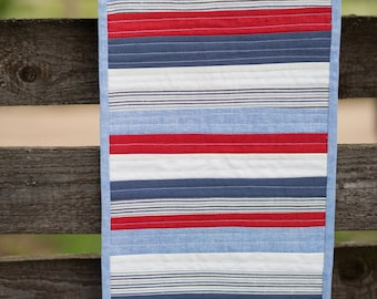 Patriotic Fourth of July Quilted Table Runner Marine Decor