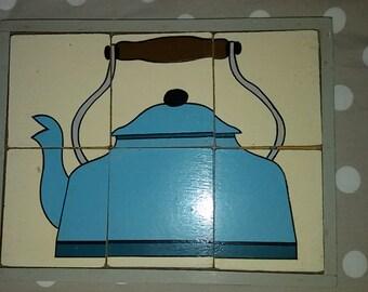French Vintage 50's-60's Puzzle bois bouilloire  ancienne / Wood puzzle old kettle