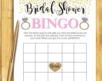 Bridal Shower BINGO Game Download - Pink Gold Glitter Instant Printable Digital Download - diy Bridal Shower Printables