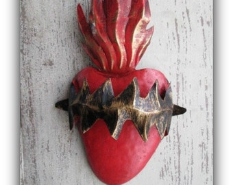 Tin Sacred Heart with Thorns - Punched Tin Heart, Mexican Folk Art - Wedding, Anniversary, Engagement
