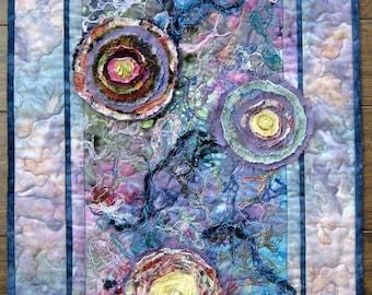 Flower Abstract Quilt, Fabric Art Quilt, Quilted Wall Hanging, 3-D Flowers, Fiber Art, Home Decor, 19 x 28