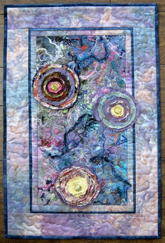 Flower Abstract Quilt Fabric Art Quilt Quilted Wall Hanging