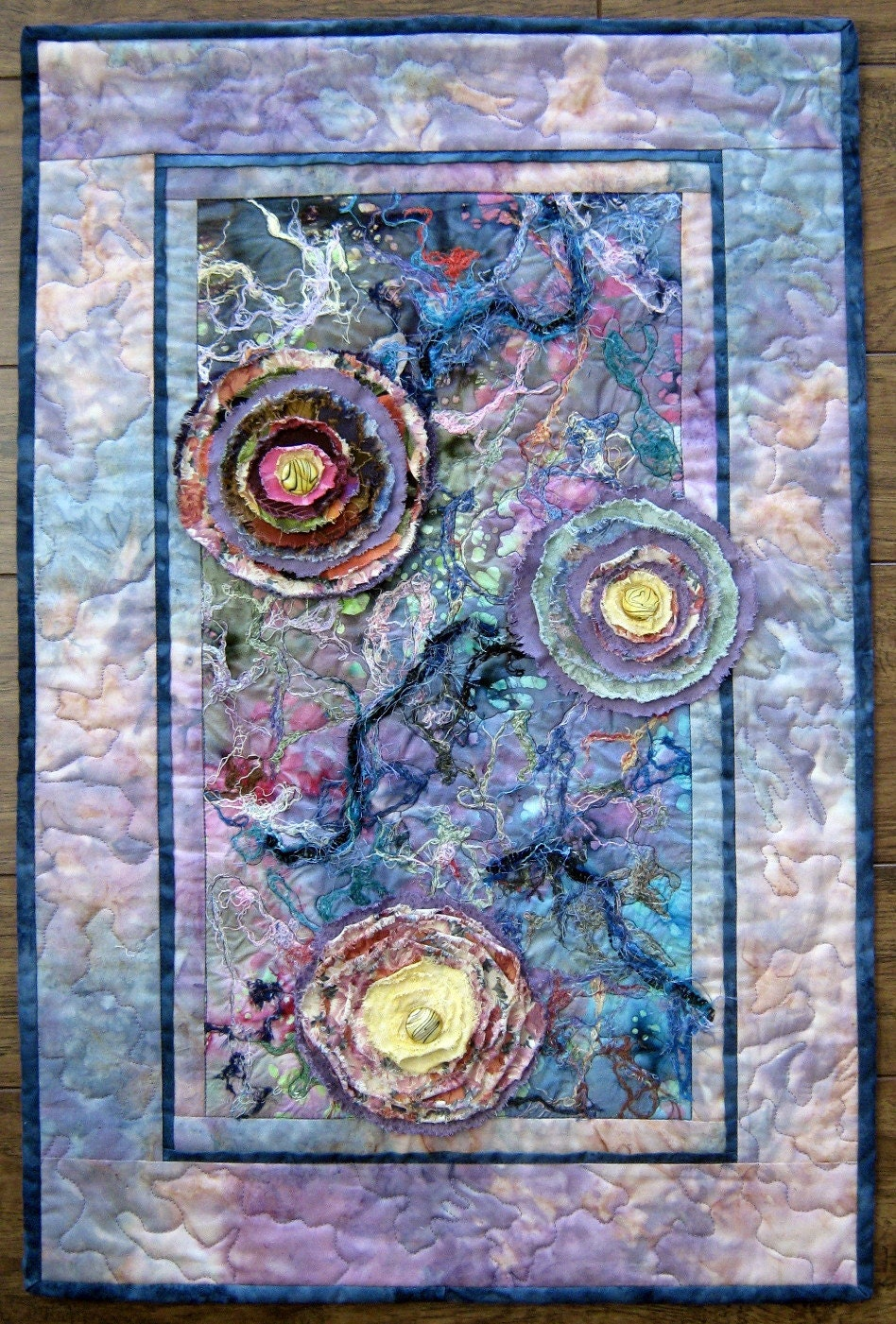 Flower abstract quilt fabric art quilt quilted wall hanging for Fabric wall art