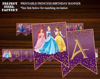 Princesses Birthday Banner, Princess Banner, Disney Princess Banner, Disney Princesses, Printable Banner, DIY Banner,Perfect Pixel Factory