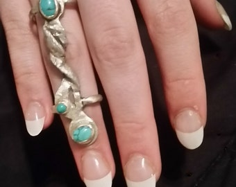 Statement ring - Sterling and Turquoise ring - Originally designed ring - Unique doubled ban ring - Art to wear ring - Party ring