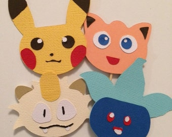 Pokemon Party Cupcake Toppers Set of 12. By My Tulip, Handmade Scrapbooking Party Supplies.