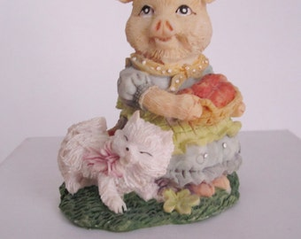 Pig Figurine Carrying a Basket of Fruit with a Kitty by Her Side    (#406)