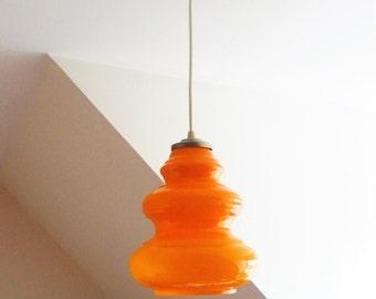 Suspension vintage seventies opaline orange-lamp ceiling 1970s s-light shade orange/illuminati10