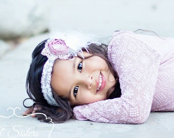 Dusty Rose, Pink, Cream, Couture Headband, Flower Headband, Infant Headband, Baby Headband, Flower Girl, Vintage Headband-Lil' Miss Tea Rose