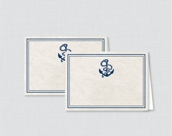 Printable Nautical Bridal Shower Food Tent Cards - Navy Anchor Nautical Bridal Shower Food Labels OR Place Cards - 0011