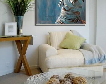 Original Oil Painting For Bedroom  Bedroom Wall Decor  Figure Art Canvas  painting  BluePainting for bedroom   Etsy. Painting For Bedroom. Home Design Ideas