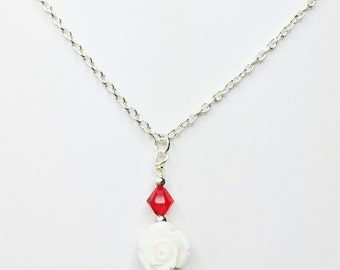 White Rose Pendant Red Crystal Necklace Red Wedding Jewelry Bridesmaid Gift Flower Girl Gift Mother of the Bride Red Swarovski Crystal