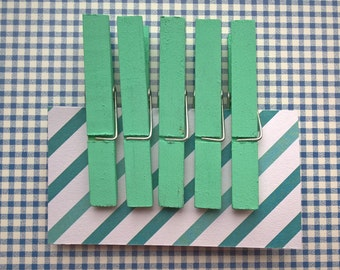 Fridge magnets, teal, set of 5, refridgerator magnets, clothespin magnets