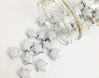48 Silver Origami Stars: Metallic Glitter - No Shed - Mini Stars - Star Decorations - Paper Stars - Baby Shower - Lucky Stars - Silver - R