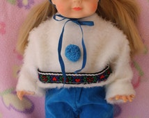 Original 1960's Littlest Angel Doll's Tagged Outfit by Vouge - Outfit Only Adorable ! Velveteen and Faux fur ~ SWEET