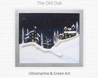 Reclaimed Wood Art, Christmas Decor, Snow Painting, Christmas Wall Art, 3D Wood Art, Christmas Gift, Christmas Gift Idea, Winter Room Decor