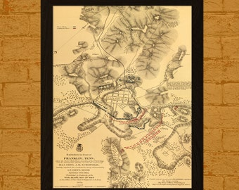 Franklin Battlefield Map 1874 - Ancient Map Wall Art Antique Map Poster Old Map Prints Civil War Map Gift Idea BUY 2 GET 1 FREE