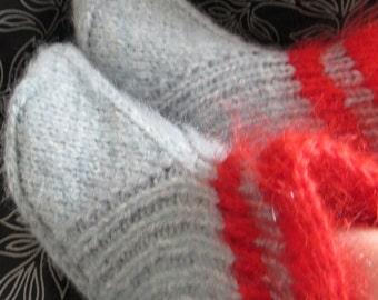 Grey hand knit slippers,Mohair,alpaca,rabbit wool bed socks, UK 6-8.