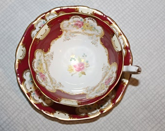 Vintage Adderley Cup and Saucer Maroon and Gold Floral Pink and Yellow Roses
