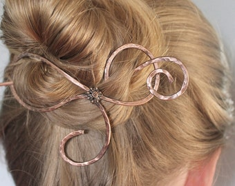 Thick Hair Barrette Metal Copper Jewelry Handmade, Hammered Hair Accessories Gift Women, Hair Jewelry, Hair Stick, Hair Slide, Hair Clip