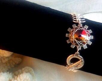 Wire wrapped Swarovski Crystal  Charm Bracelet