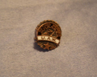 United Auto Workers Union Pin - Retired UAW Pin w White Enamel, bronze, black Finish - vintage Tie Tack. Lapel Pin. mens Industrial Jewelry