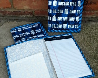 Doctor Who Quilted Notebook Cover - Brightly Colored - Reuseable - Ready to Ship