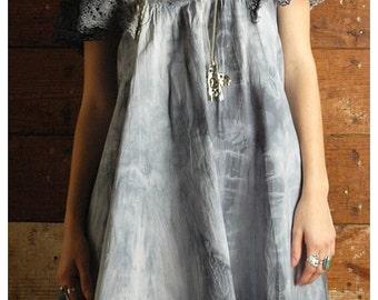 Vintage tie & dye dress crochet butterfley sleeves