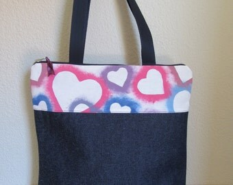 Style in denim and fabric hand painted tote bag. Tote bag.