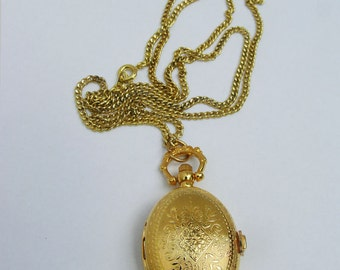 GOLD VINTAGE Oval Watch Locket Long Necklace, Victorian Quartz Locket Necklace - FREE Shipping