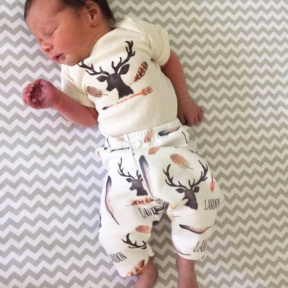 Baby Boy Name Outfit Deer And Antlers Hunting Theme