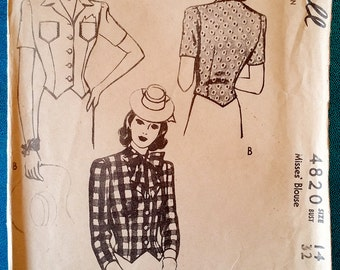 """Rare vintage 1943 blouse sewing pattern - McCall 4820 - size 14 (32"""" bust, 26.5"""" waist) - 1940s"""