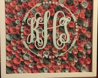 """12""""x 12"""" shadowbox with hand-rolled paper roses"""