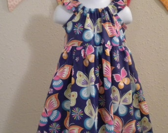 Toddler Girls Butterfly Peasant Dress Navy Handmade Size 3T