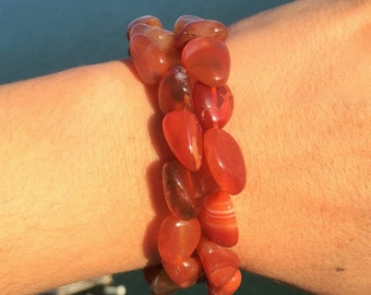 2 Carnelian Bracelet SET infused w/ Reiki-Stretch Bracelets
