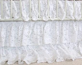 Vintage White Lace Waterfall Ruffle 3 Tier Crib Skirt