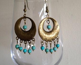 Turquoise earrings Jewellery, Ethnic earrings, Rustic earrings, Bohemian earrings, Boho earrings, Tribal earrings