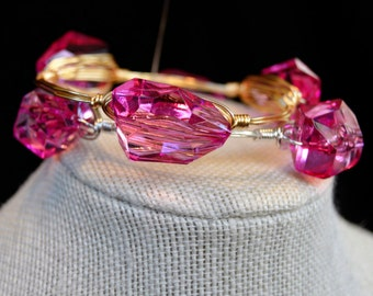 Fuschia Lucite Bangle, Fuschia Lucite Bangle in Gold, Fuschia Lucite Bangle in Silver, Fuschia Lucite Bracelet