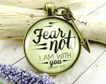 Fear Not Fearless Necklace Scripture Pendant Bible Verse New Beginnings You are Brave So Be Fearless Do Not Fear