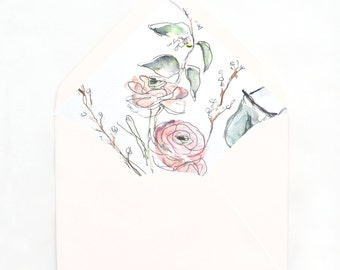 Botanical Blush Ranunculus, Envelope Liner Illustration