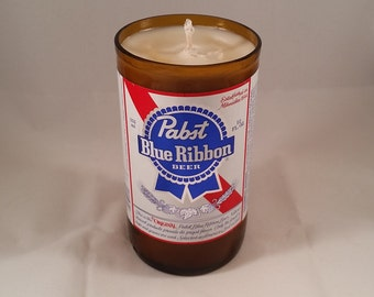Pabst Blue Ribbon PBR Beer Bottle Candle, YOU Pick Scent! Hand cut, Hand Polished, Maine made