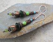 Handmade Czech Glass Dangle Earrings ~ Boho Earrings, Blue & Green Earrings, Flower Earrings, Copper Earrings, Artisan Earrings, Ethnic Gift