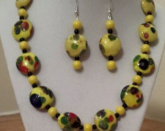 Spotted Yellow Necklace - Spotted Necklace Earrings - Jewelry Set - Women's Yellow Jewelry - Yellow Necklace - Yellow Earrings - Jewelry Set