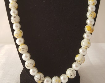 White Pearl Necklace - White Necklace - Yellow Necklace - White & Yellow Necklace - Women's Necklace - Women's Pearl Necklace - Glass Pearls